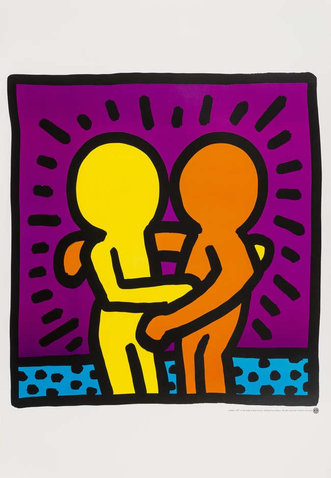 Keith Haring Untitled (Best Buddies), 1987 Offset lithographic poster printed in colours on glossy wove paper sheet 800 x 600mm (31 1/2 x 23 5/8in)