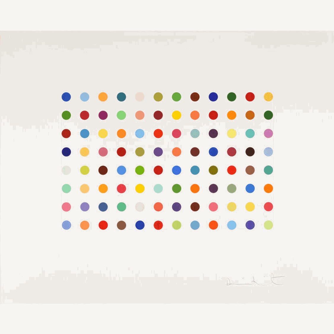 Damien Hirst Bromphenol Blue, 2008 Two-inch spot etching with 48 differently coloured spots