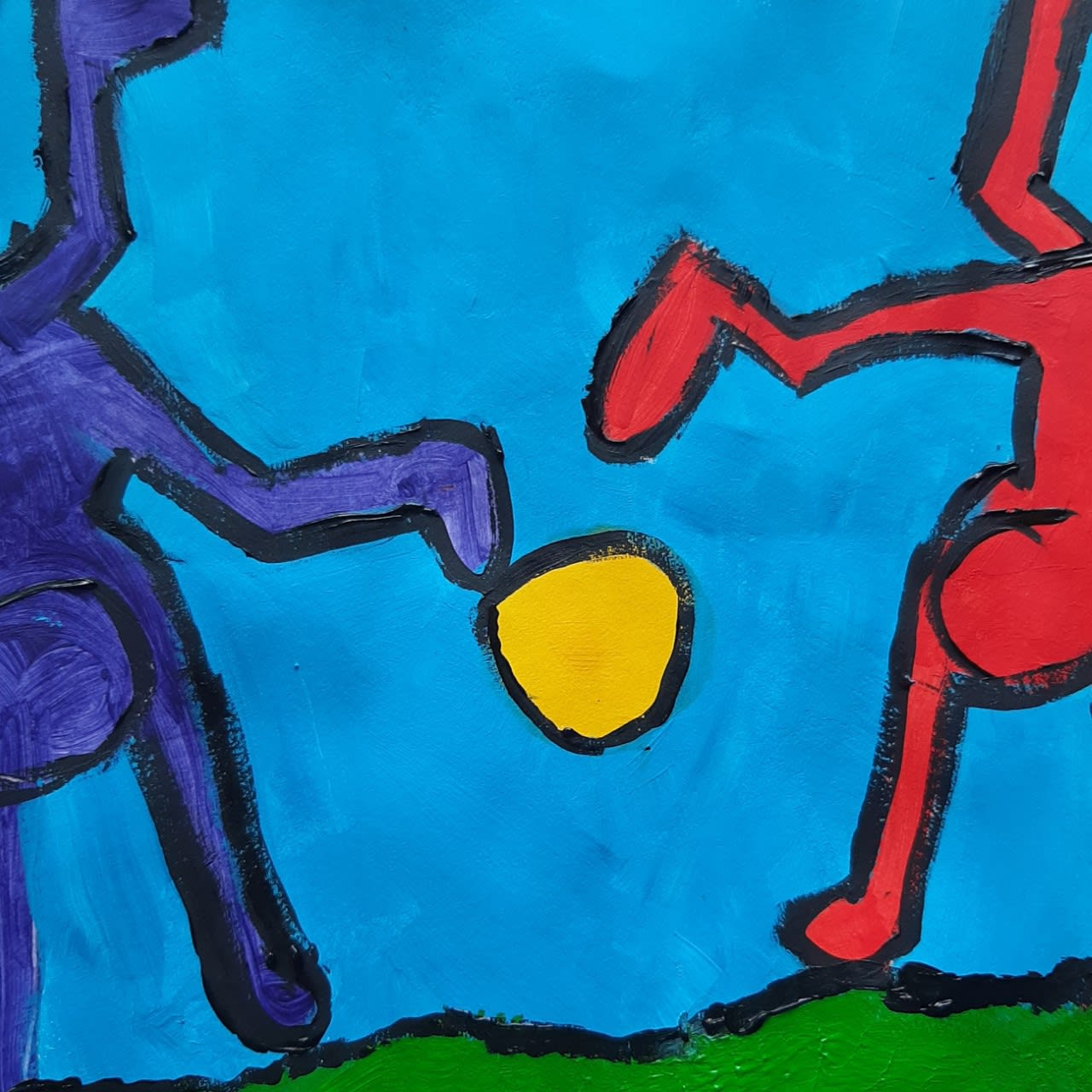 Rebecca Wilson, age 8, Handstands, inspired by Playing People by Haring