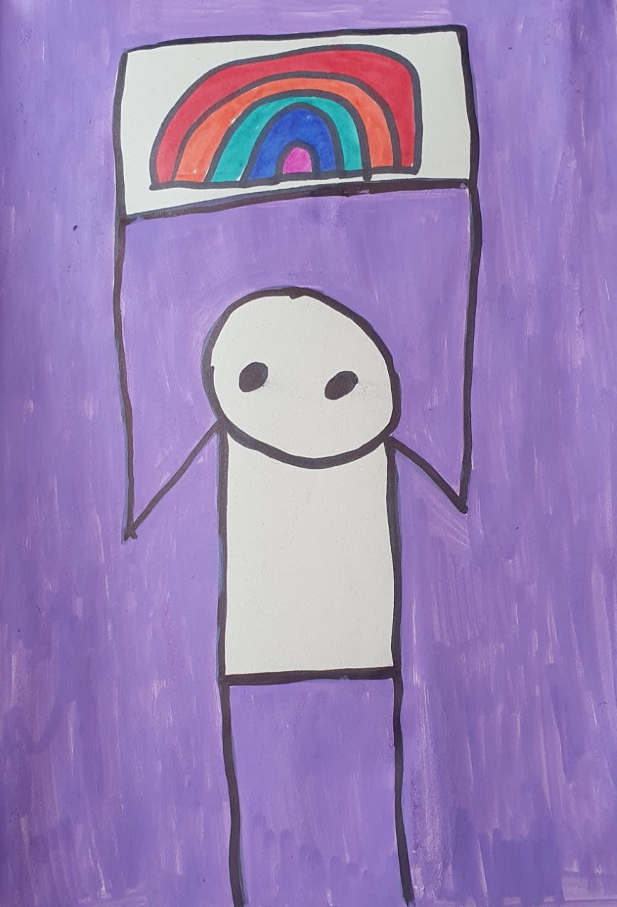 Ryan McColl, age 7 Inspired by Stik with a rainbow of hope.