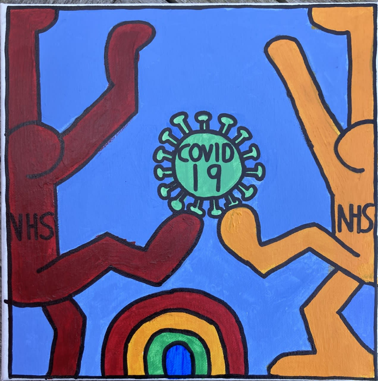 Luke Bailey, age 12 NHS Key Workers fighting the Covid together Inspired by Keith Haring