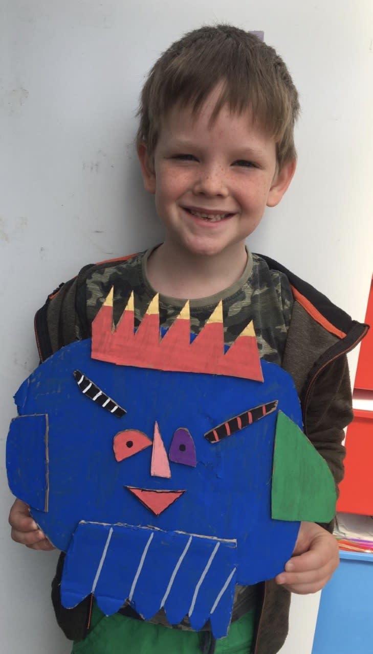Samuel Ives, age 6 Pablo Picasso and his cubism art portrait.