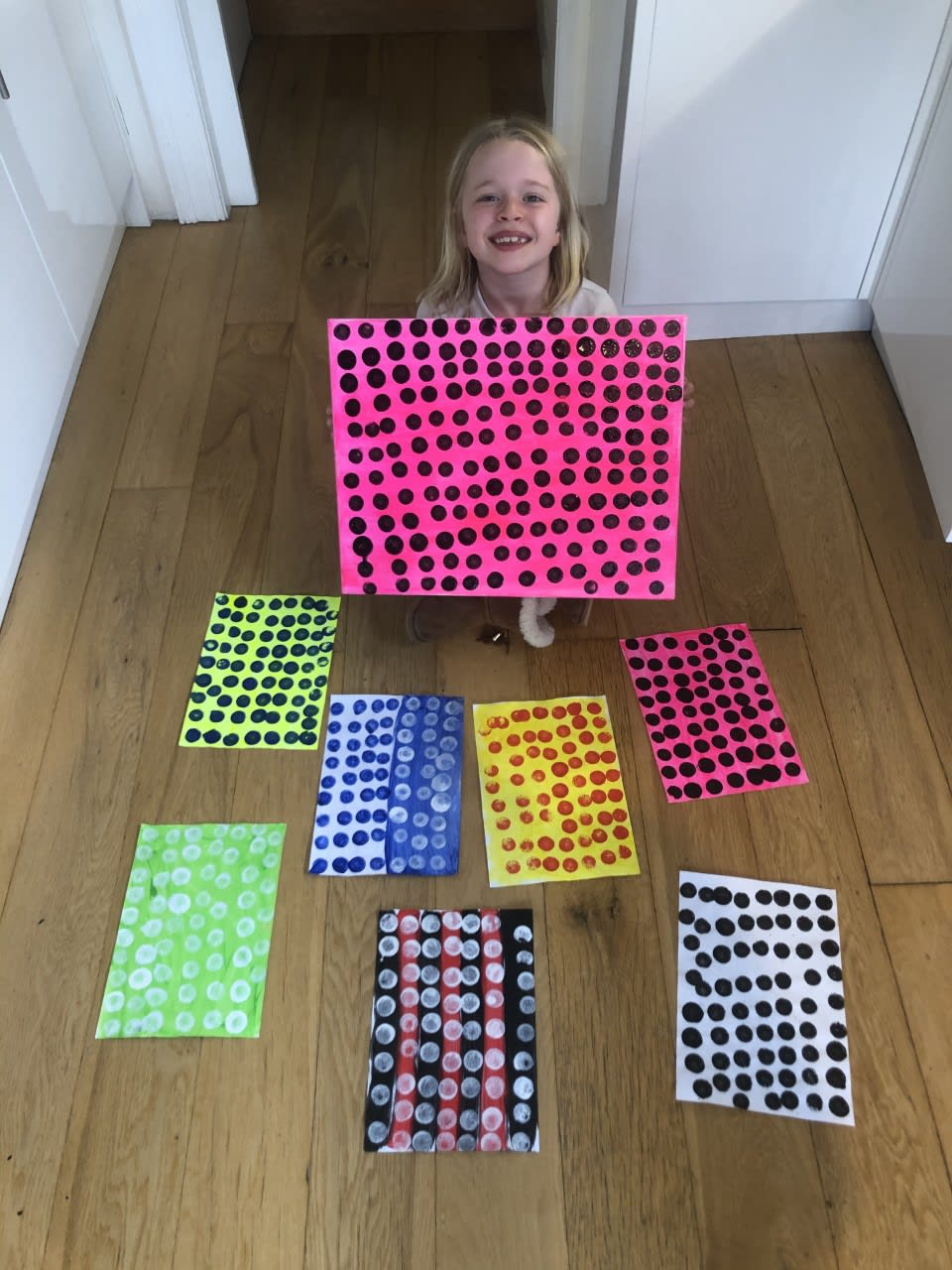 Sadie, age 7 Inspired by Damian Hirst dots