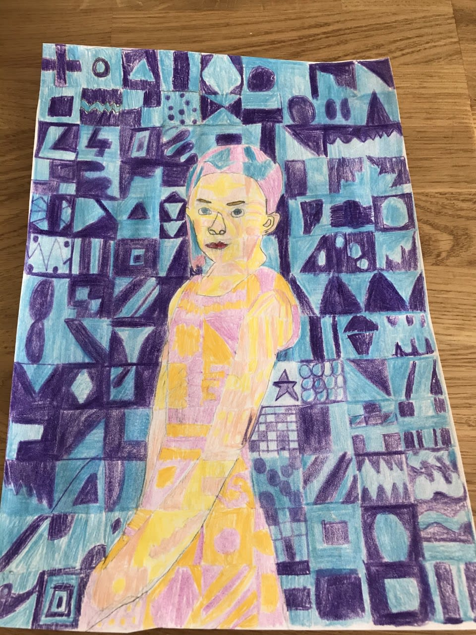Florence Parsons, age 10 Inspired by Chuck Close