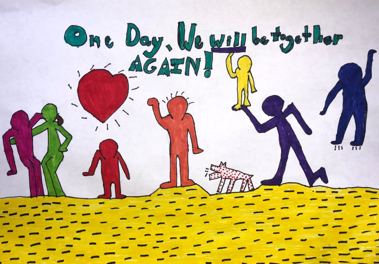 Ava Saunders, age 11 Inspired by Keith Haring and illustrates hope to have an end to social distancing.