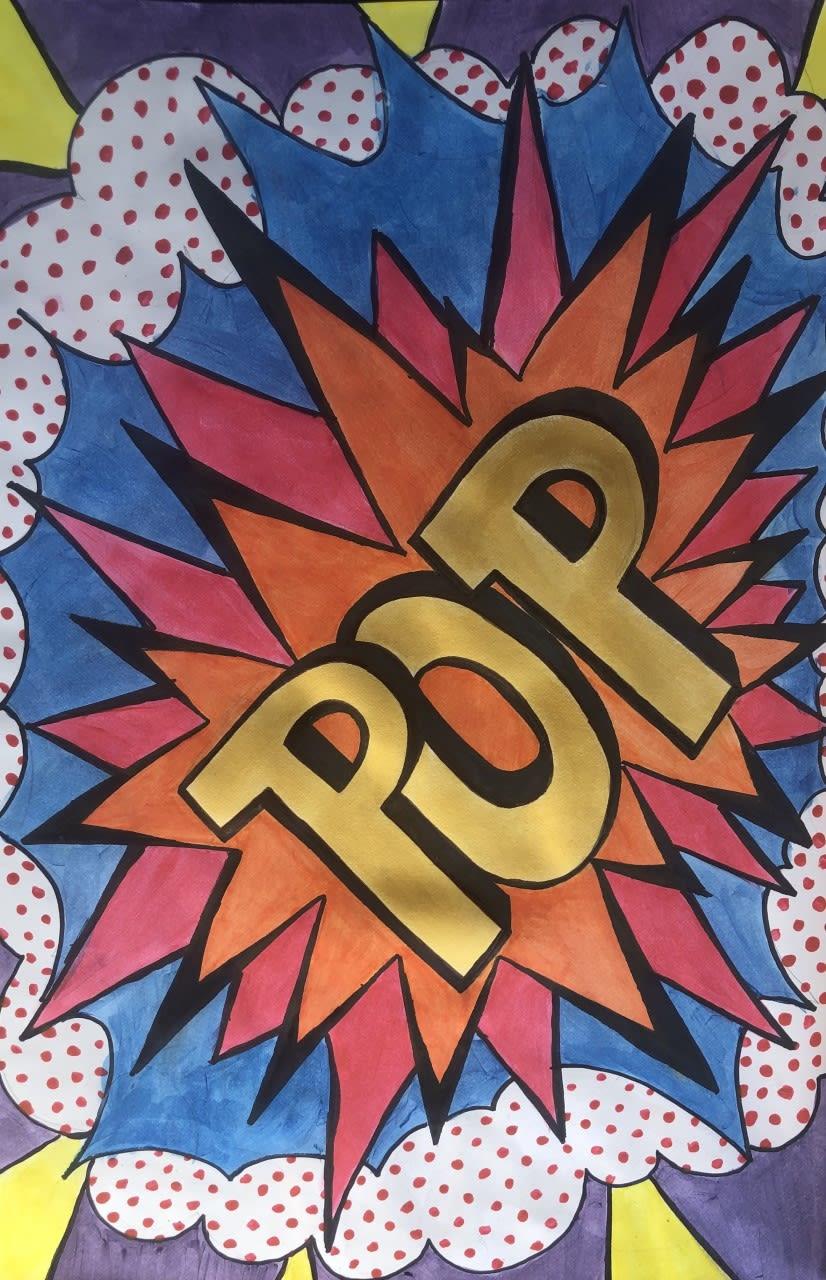 Boe, age 13 Pop Art inspired by Andy Warhol and Roy Lichtenstein.