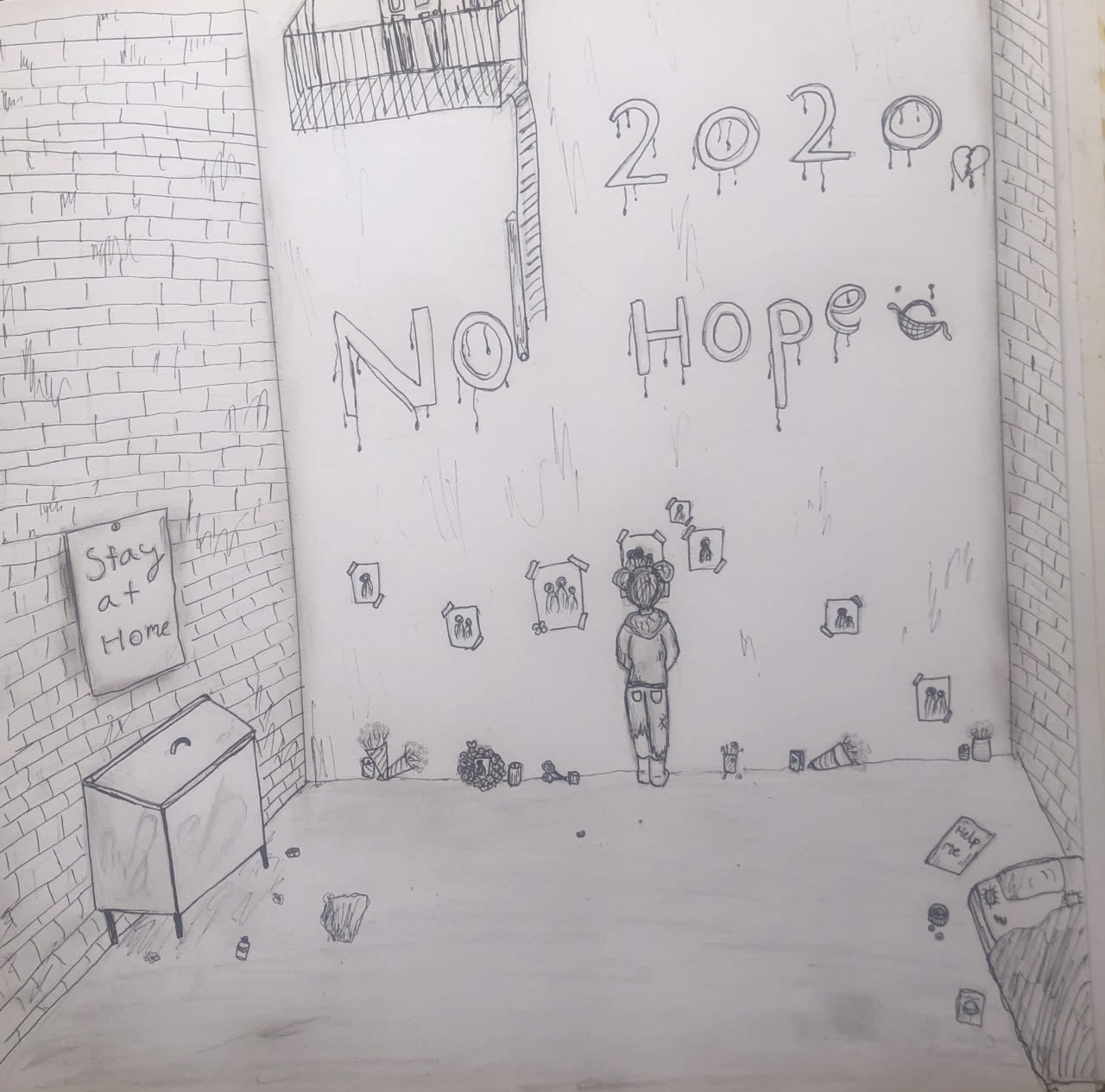 'Stay at Home' - Homeless during the Coronavirus Nelle, age 11 Inspired by Banksy.