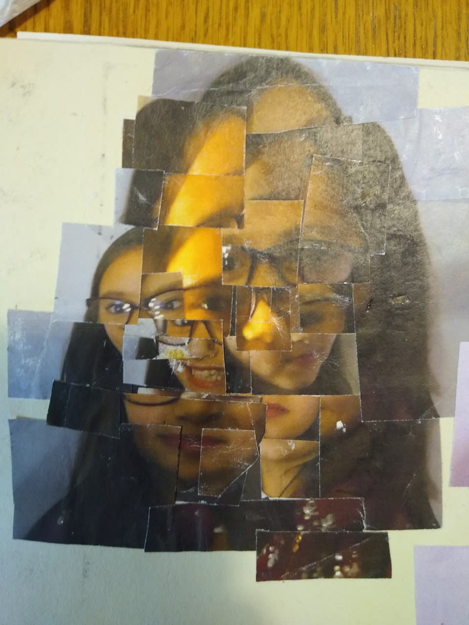 Photo montage of my sister Dylan Evenson, age 12. Inspired by David Hockney