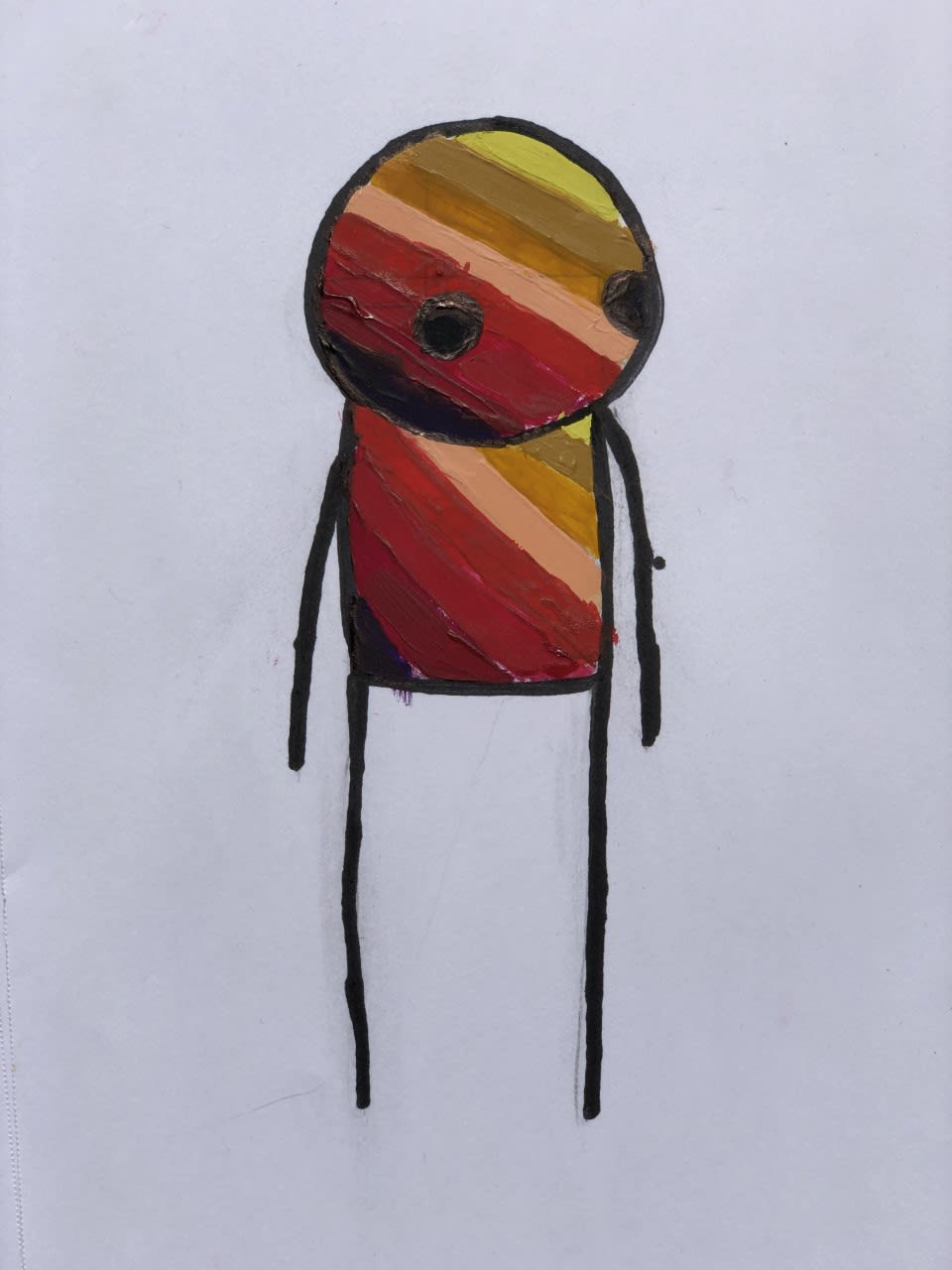 Rudy Dorman, age 9 The artworks that inspired Rudy were Stik's 'Standing Figures' series, in a colour palette influenced by the 'covid' rainbow motif.