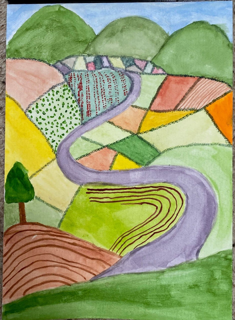 Isabelle Ashwell, age 10, Inspired by David Hockney's Garrowby Hill