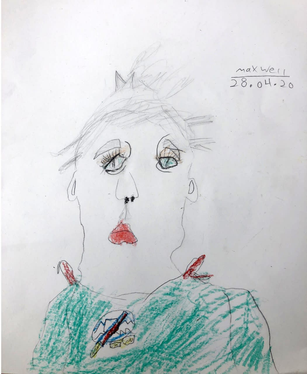 Maxwell Purdy, age 6, Self portrait, inspired by Pablo Picasso.