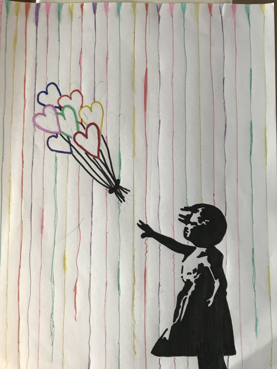 "Giselle, age 13 Inspired by Banksy ""Girl with balloon"" and the ""Umbrella rainbow"""