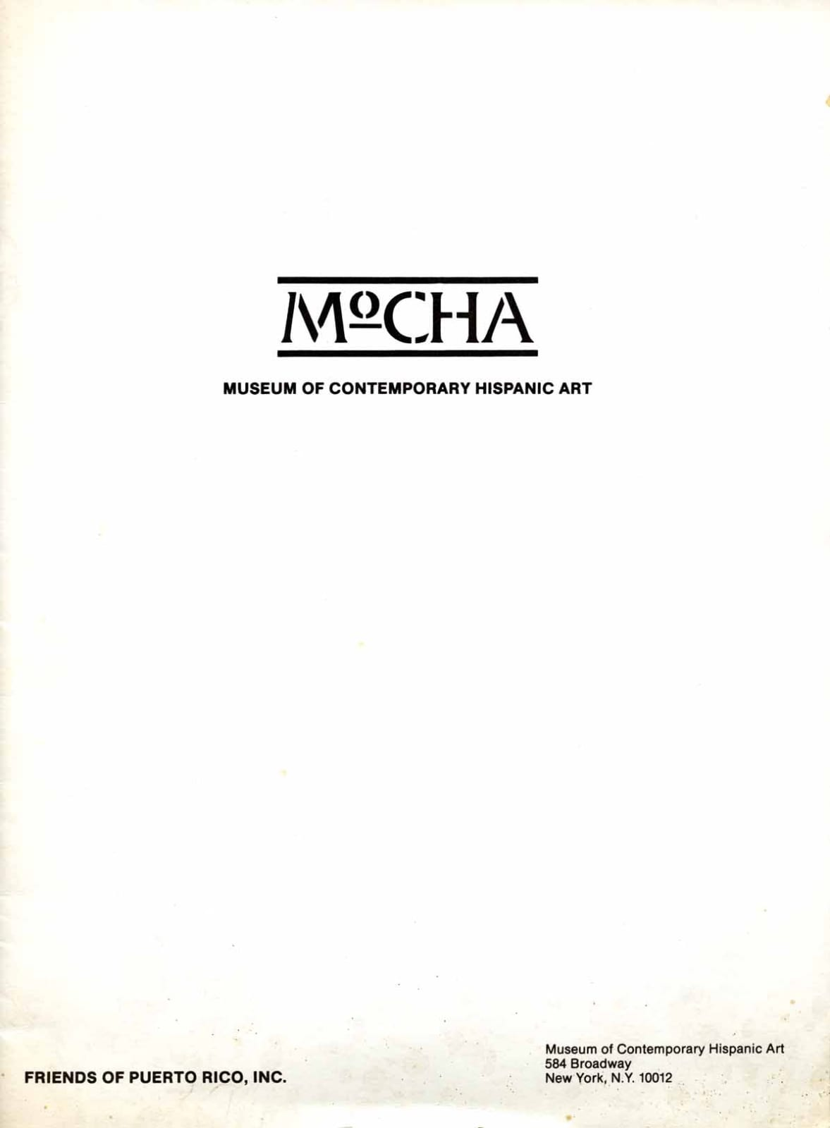 Musuem of Contemporary Hispanic Art (MoCHA) Inaguration Letter, front page, 1985