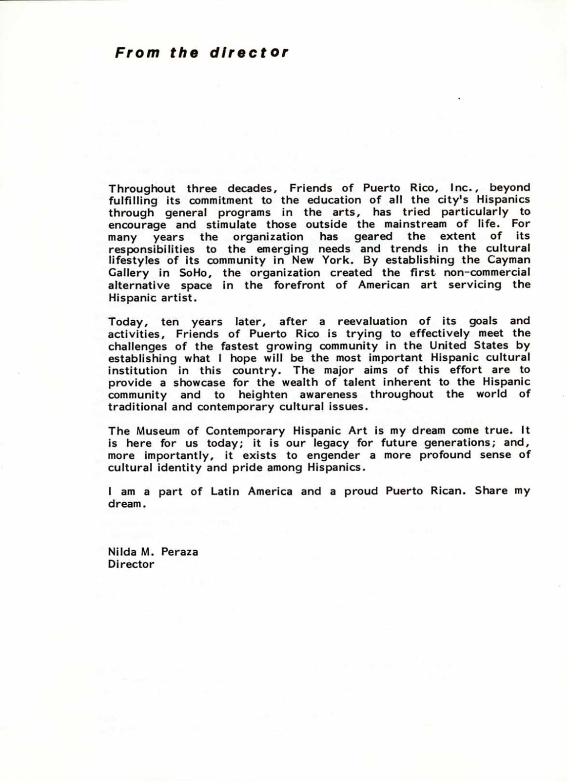 Musuem of Contemporary Hispanic Art (MoCHA) Inaguration Letter, Letter from then-Director Nilda M.Peraza, 1985
