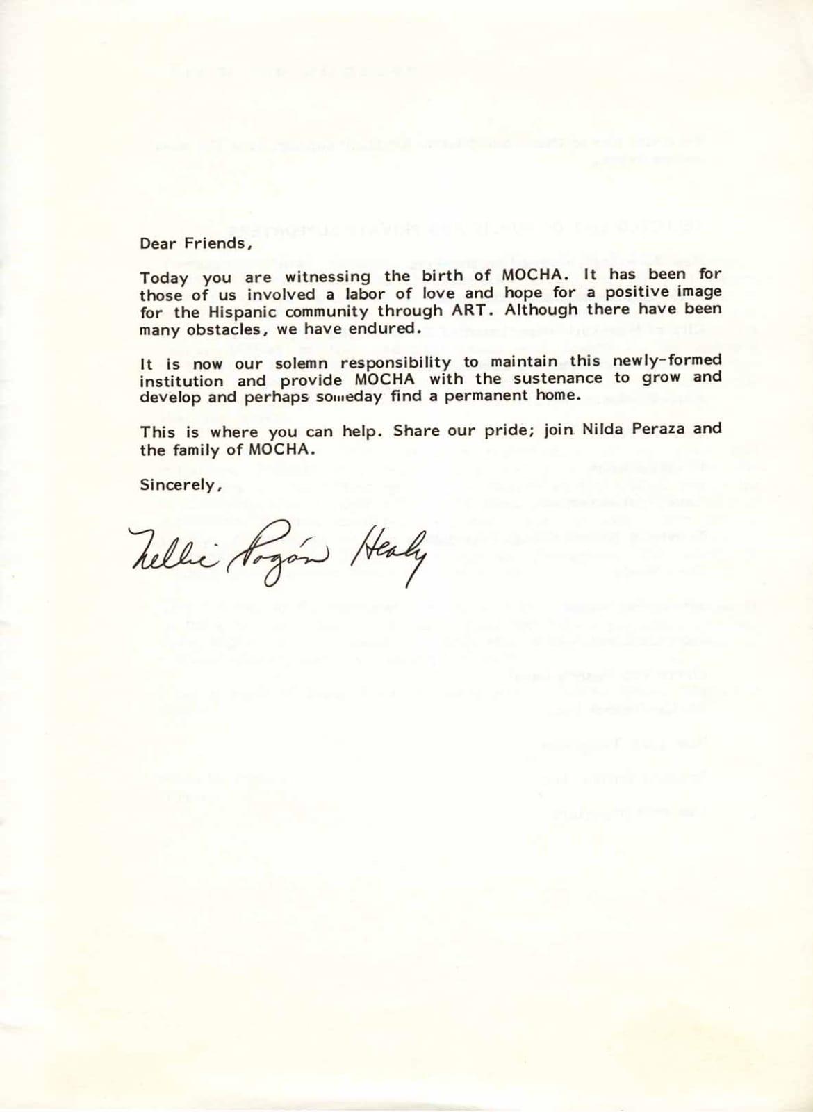 Musuem of Contemporary Hispanic Art (MoCHA) Inaguration Letter, Letter from Nellie Pogón Healy, 1985