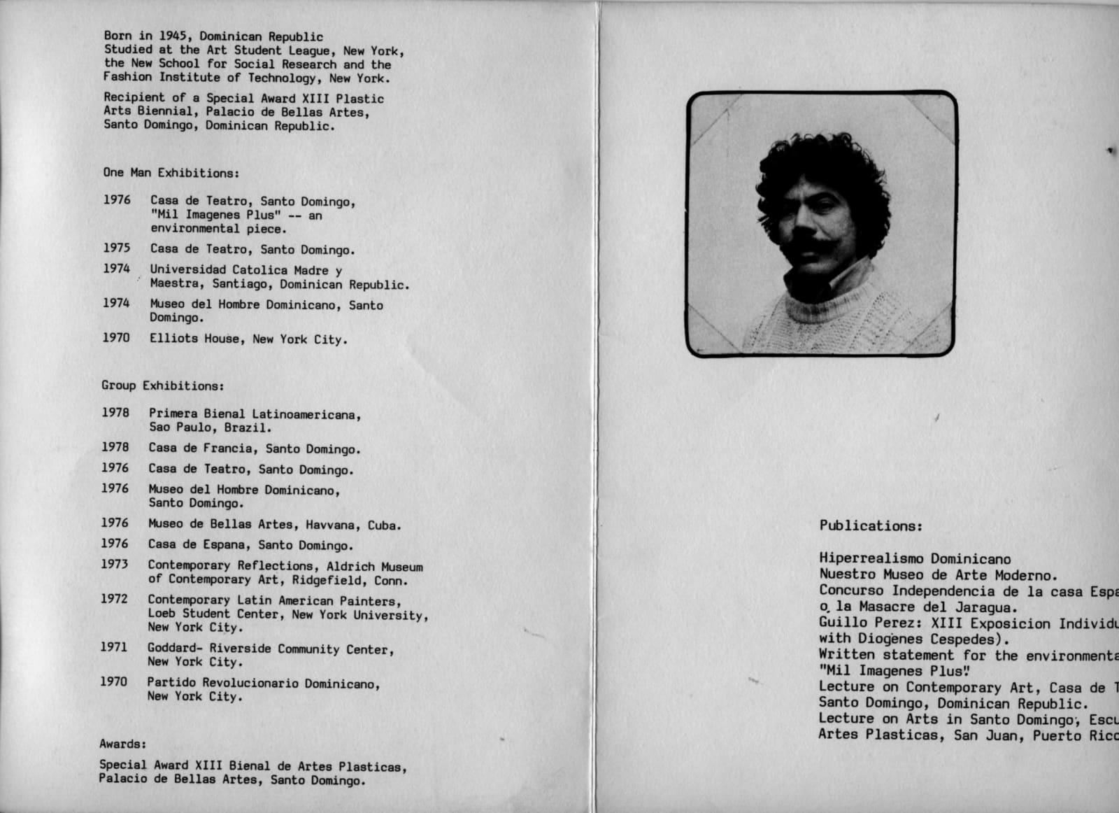 Freddy Rodríguez portrait and CV,Cayman Gallery, 1978