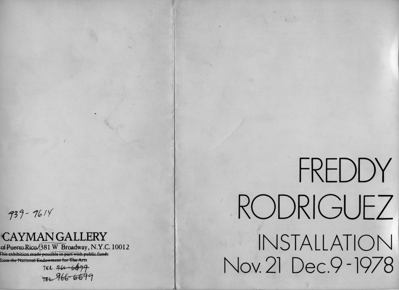 Cover for Freddy Rodríguez installation, Cayman Gallery, 1978