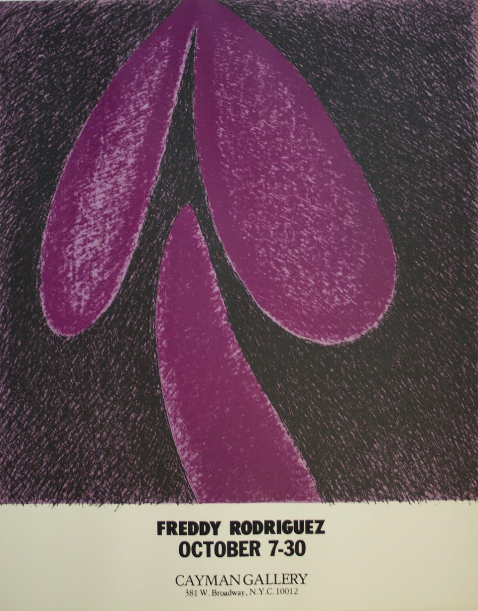Promotional poster for Freddy Rodríguez exhibition: Cayman Gallery, 1978