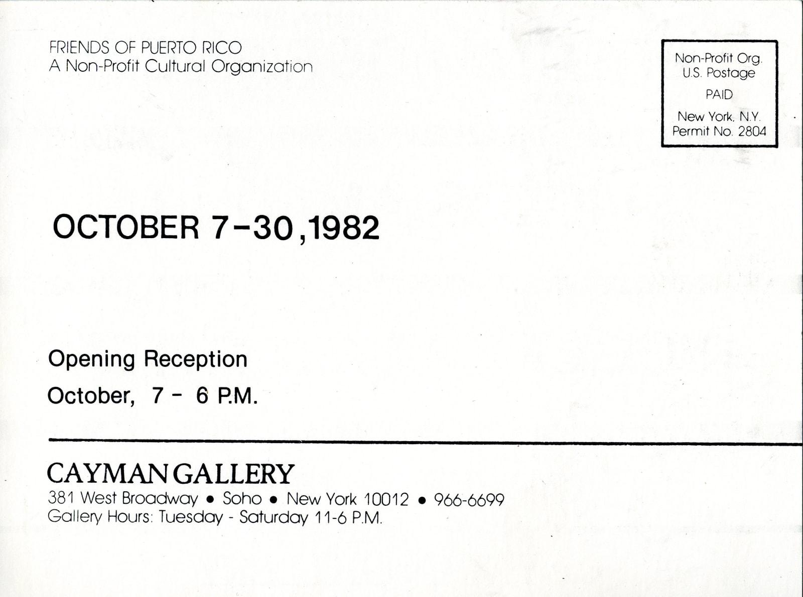 Postcard Back, Freddy Rodríguez exhibition, Cayman Gallery, 1982