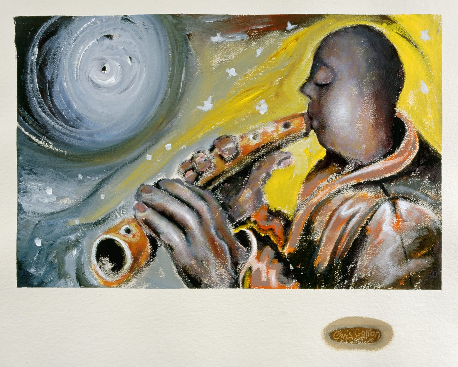 Flute Player, acrylic on khadi paper. 31 x 24 inches (79 x 61cm), 2000. Private collection.