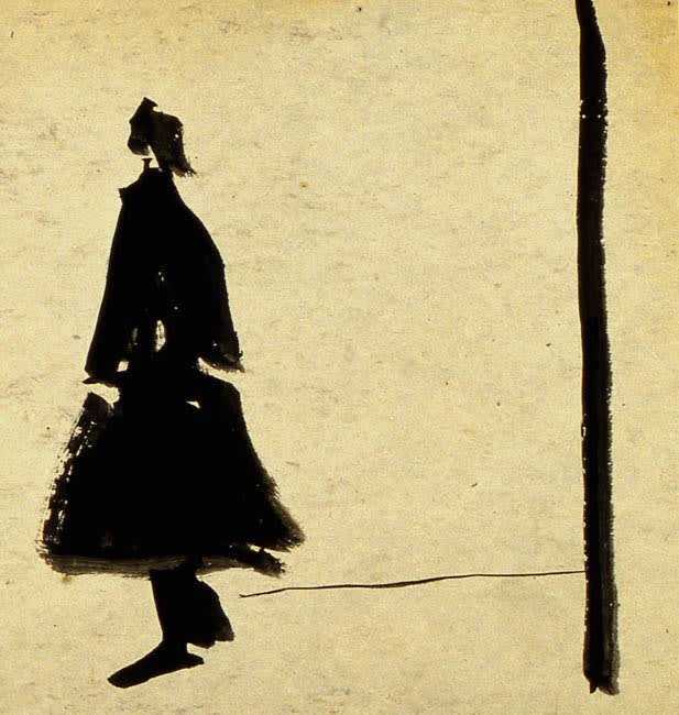 Untitled (Walking Woman) 1951 brush and ink on cardboard 8.5 x 8.5