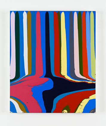 Puddle Painting: Small Blue (after Fra Angelico) Ian Davenport 2011 acrylic on aluminium mounted on aluminium panel 45 x 38 cm