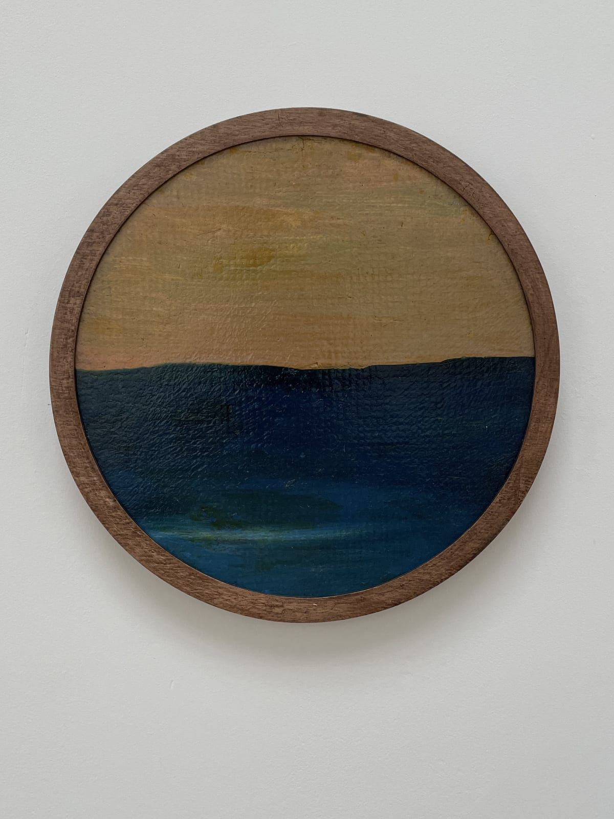 Frank Walter Untitled (Yellow sky, blue sea) Oil on pressed fibre with Masonite backing 21 cm diameter