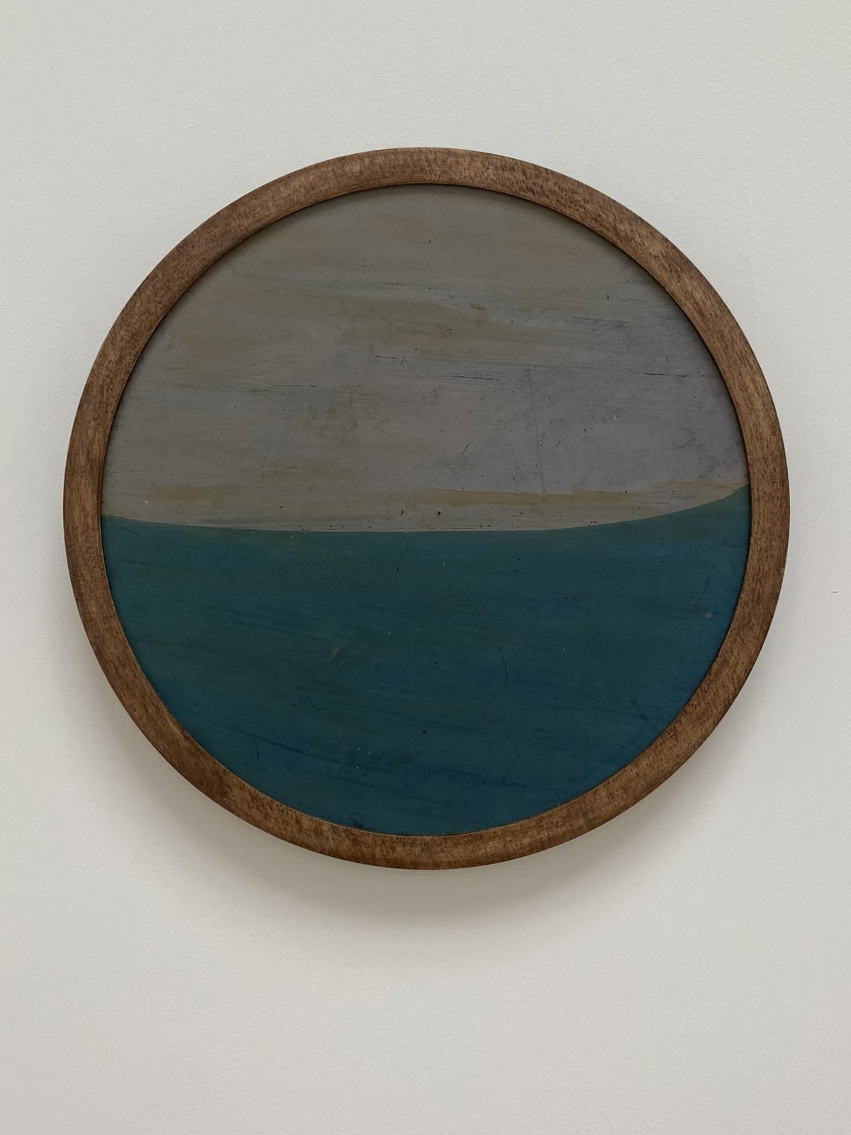 Frank Walter Untitled (Lilac sky, blue green sea) oil on biocomposite material, backed with Masonite 21.8 cm diameter