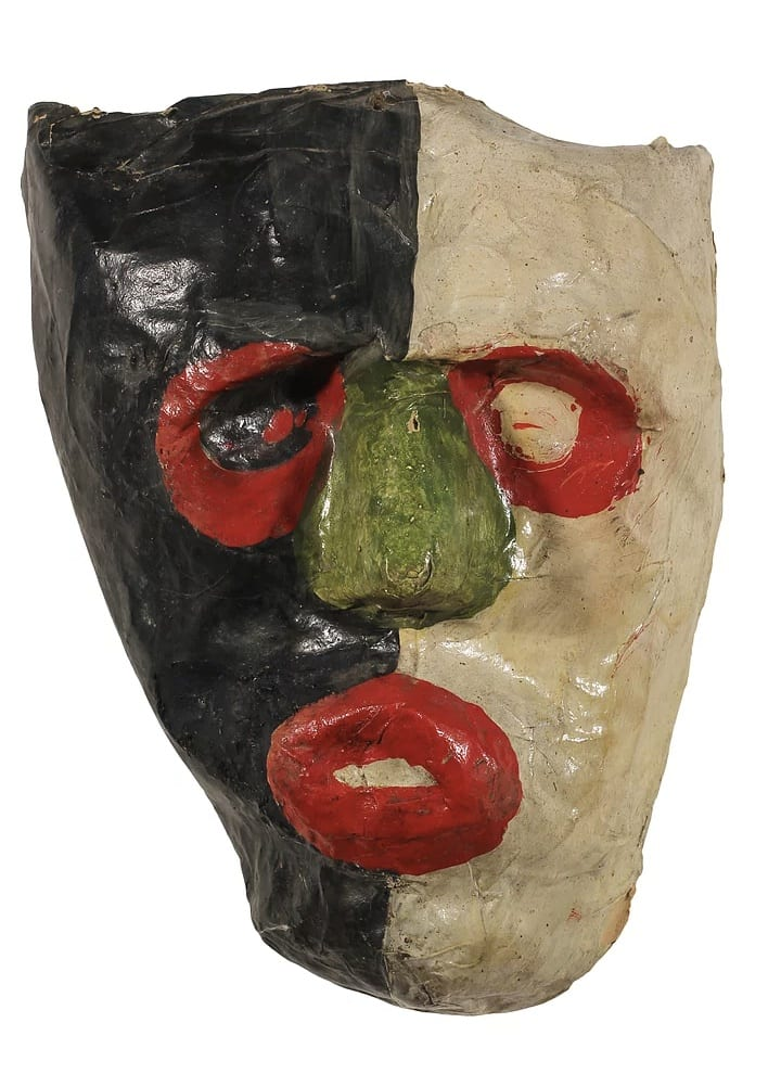 Frank Walter, Carnival mask in black and red, oil paint on papier mache. 23.5 x 16 cm