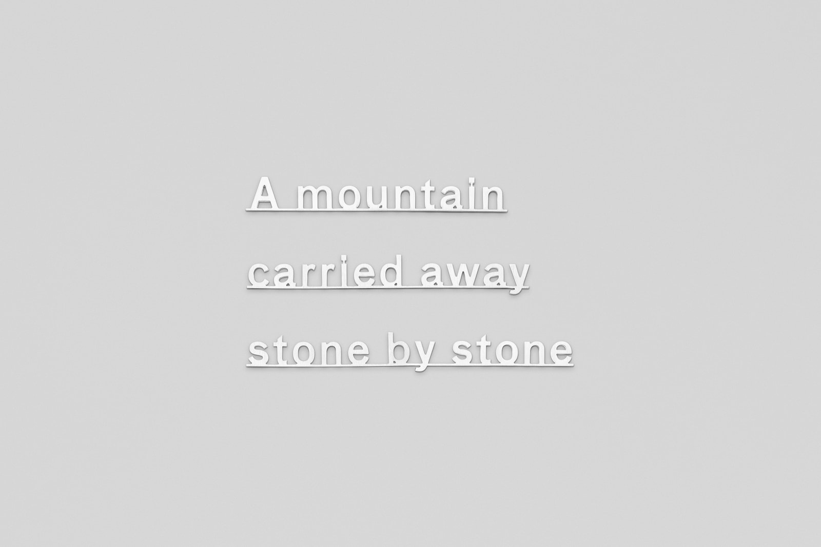 Katie Paterson Ideas- (A mountain carried away stone by stone), 2017