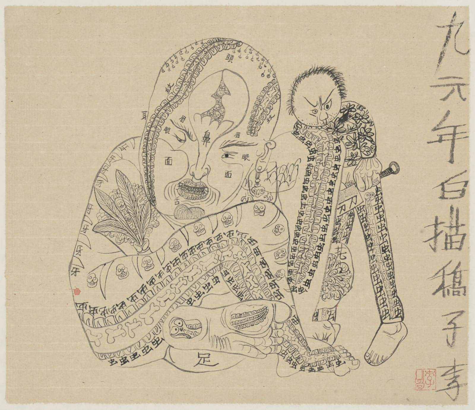 Li Jin 李津, Line Drawing: Knife 小哥线描:刀, 1996