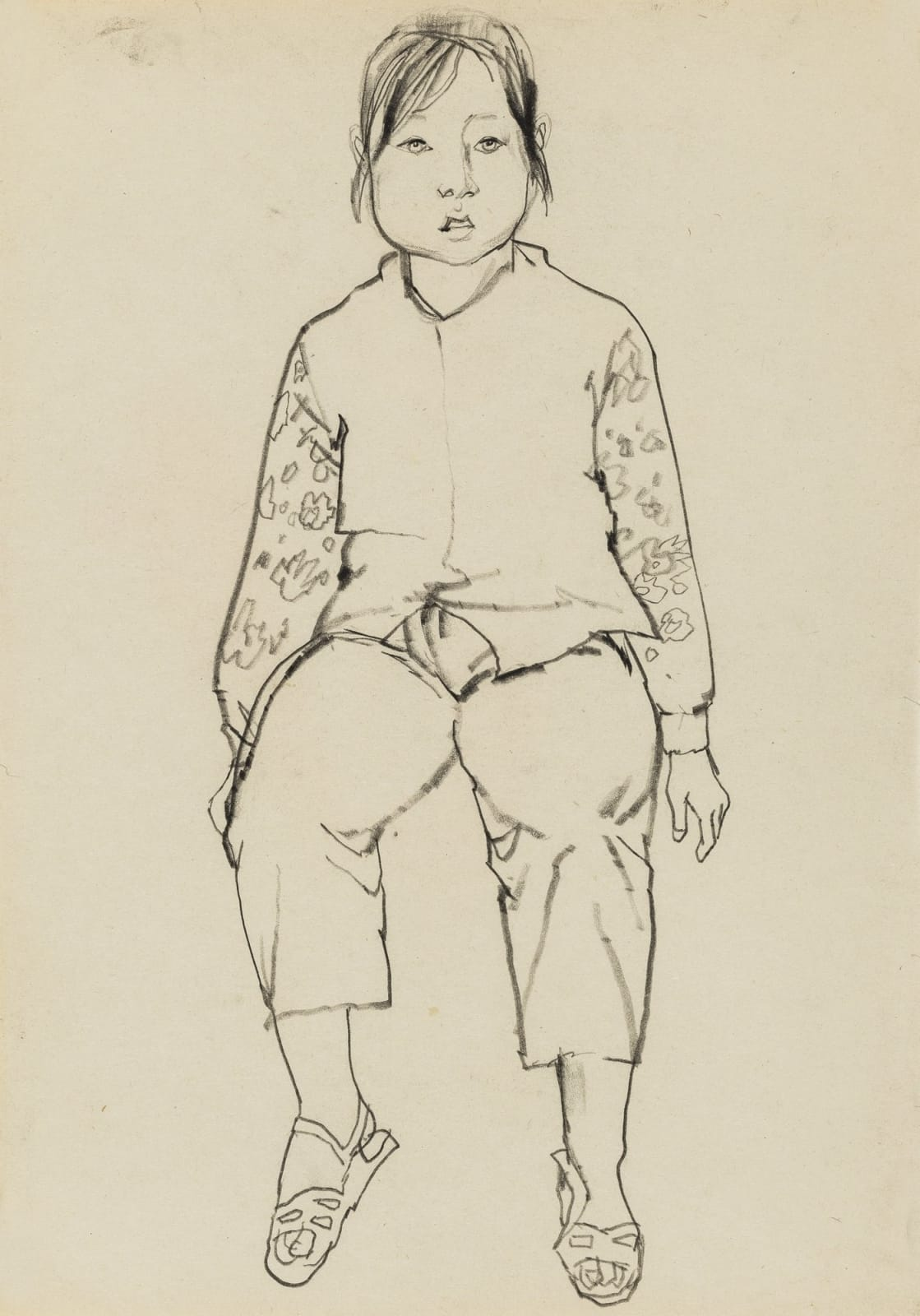 Li Jin 李津, Study of a Girl in Sandals 速写练习:穿凉鞋的女孩, 1981