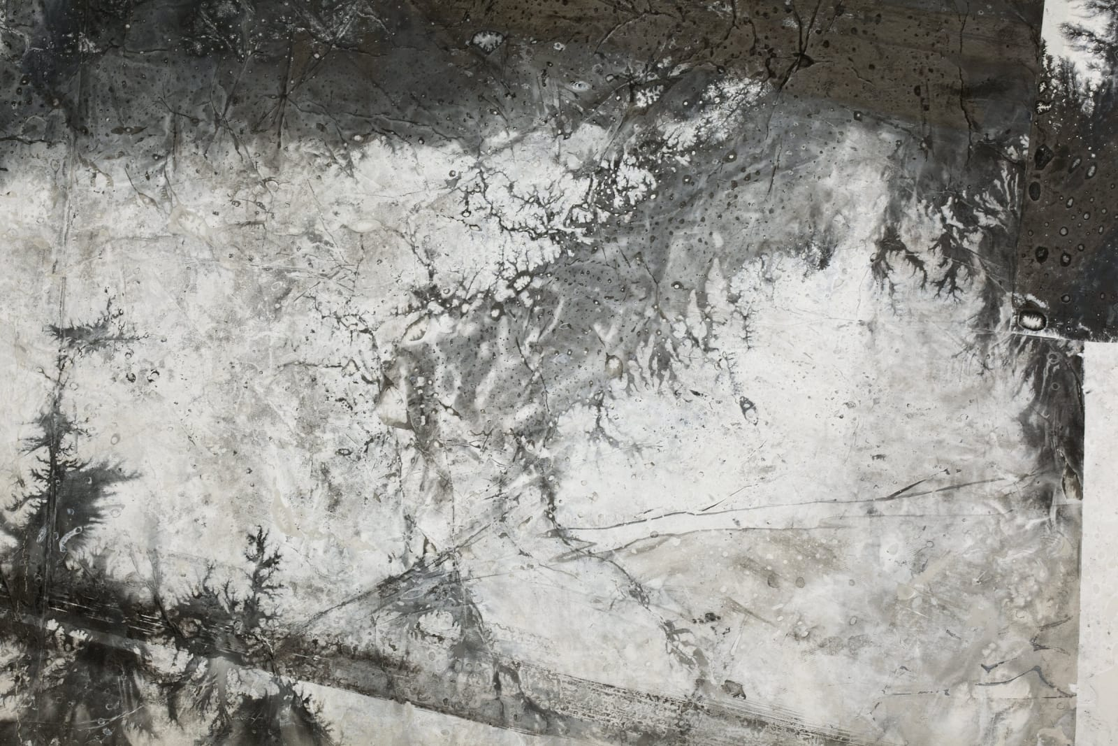 The Removal of Land 移动地带 detail, 2015, Ink, acrylic, xuan paper 墨 丙烯 宣纸, 276 x 198 cm
