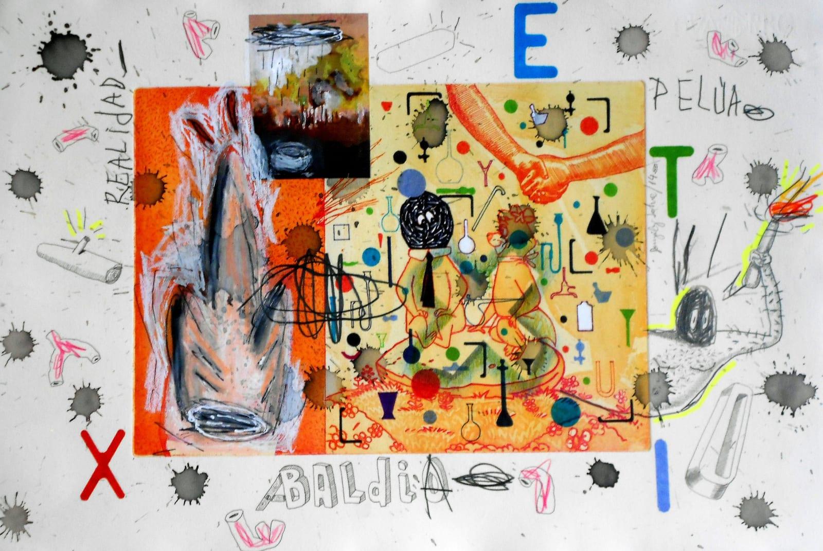 Coco González Lohse, Realidad Pelúa, 2001-2018. Mixed technique on paper, 35 x 55 cm.