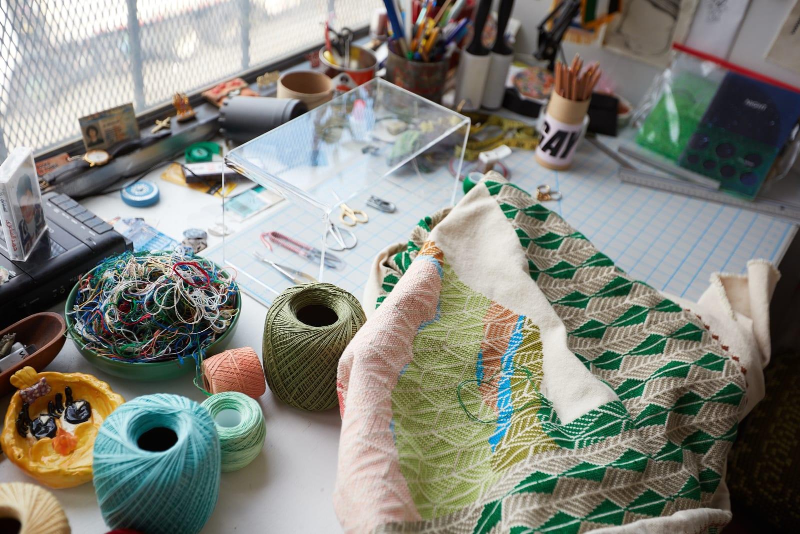 Jordan Nassar's Studio, Brooklyn, NY. Photo by Roy Beeson, 2020.
