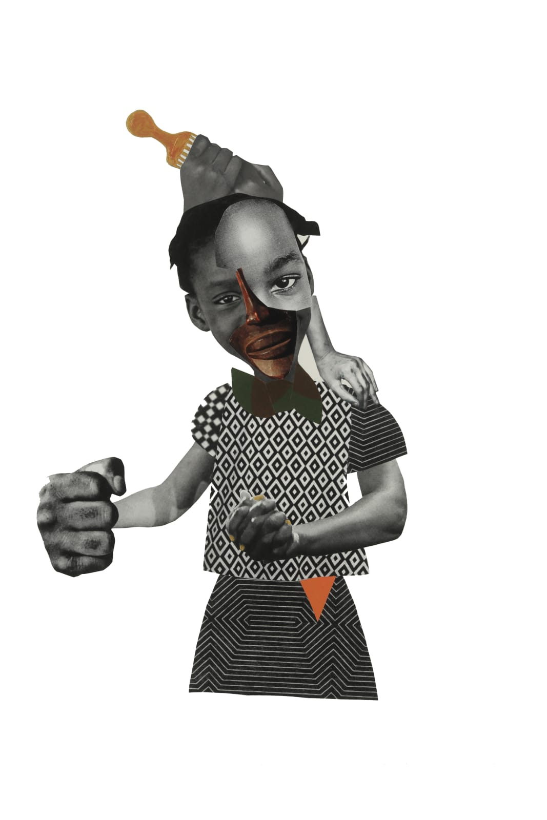 Deborah Roberts About Face, 2017 mixed media on paper 30 x 22 in.
