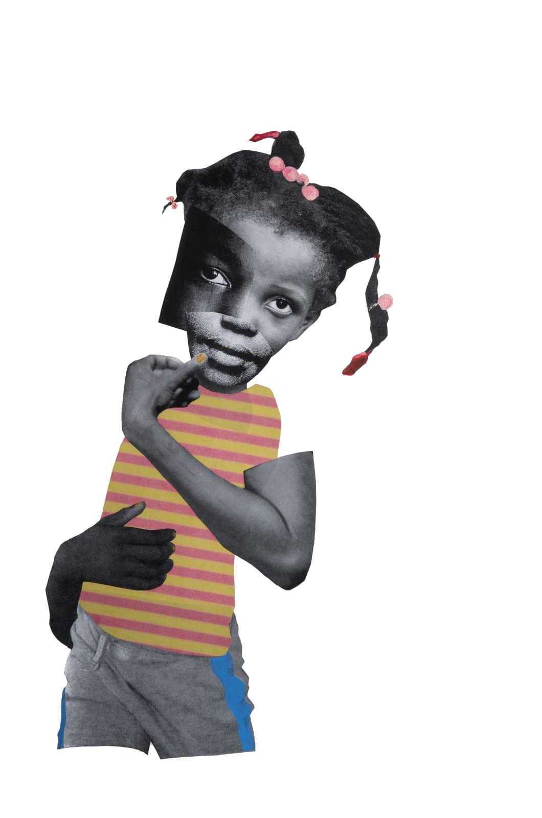 Deborah Roberts Baby Girl, 2017 mixed media on paper 30 x 22 in.