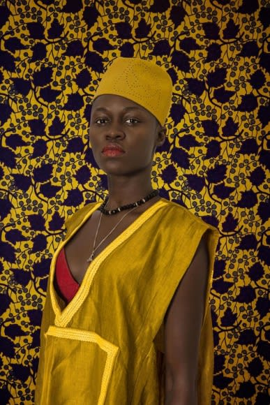 Omar Victor Diop Sashakara, 2016 ink-jet print on Harman by Hahnemuhle paper 35 7/16 x 23 5/8 inches edition of 5