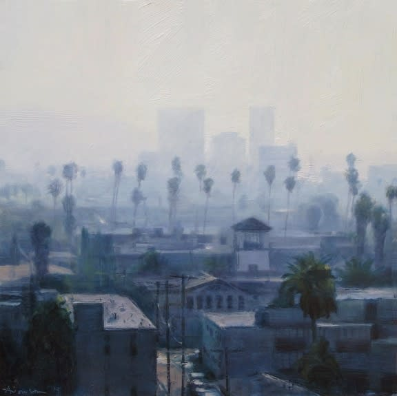 Ben Aronson Palms and Haze, 2014 oil on panel 16 x 16 inches signed lower left