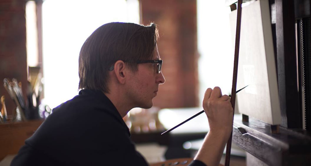 Chris Clamp in his McColl Center studio in uptown Charlotte, 2019. Photo taken by Chris Edwards.