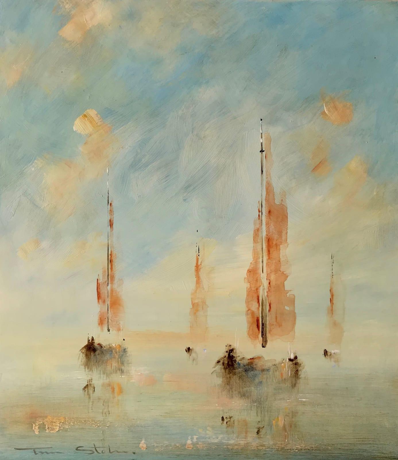 Tina Stokes Drifting sail boats Acrylics