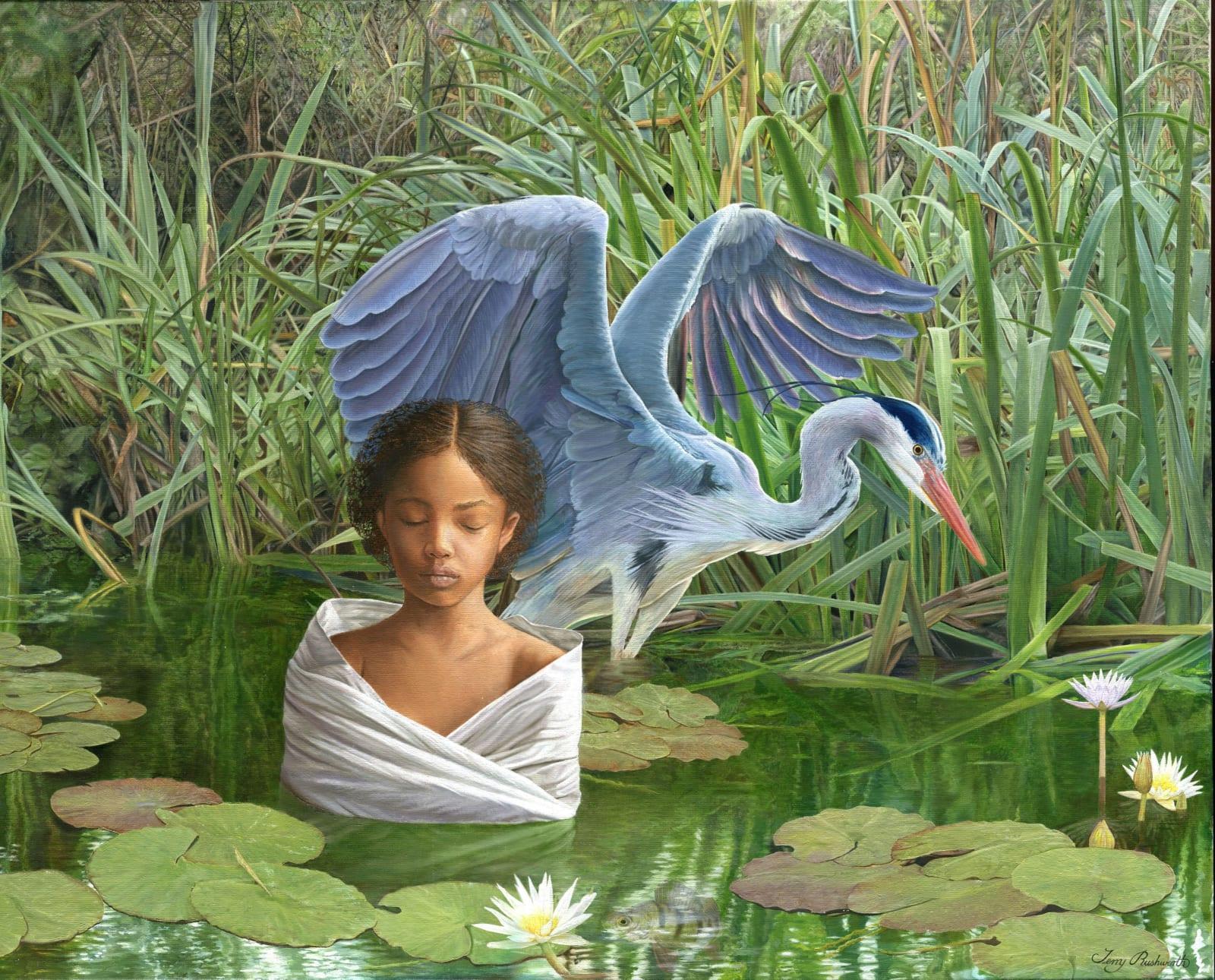 Terry Rushworth Girl and Heron Oils