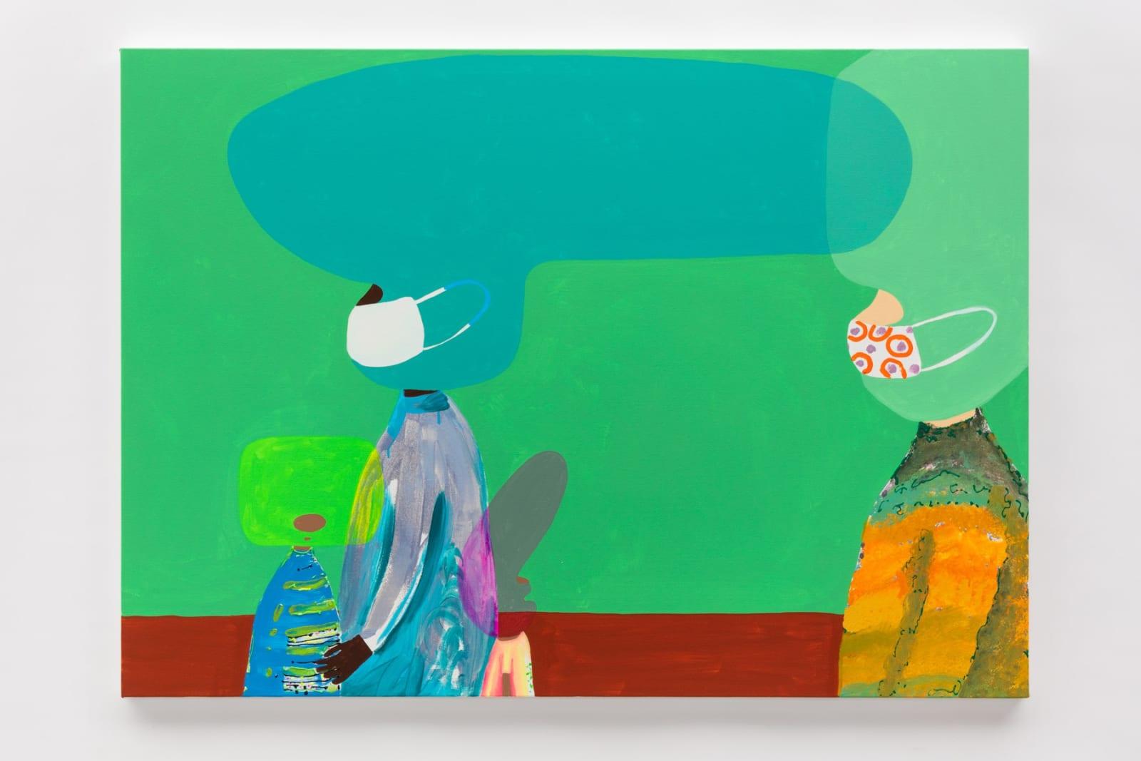 Masks, 2020 Acrylic gouache, glitter glue on canvas 100 x 140 cm