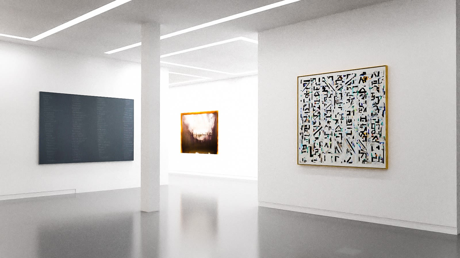 Works by Scott Reeder, Michael Joo, and Young-Il Ahn in The Written Word (virtual exhibition view), 2020, Kavi Gupta