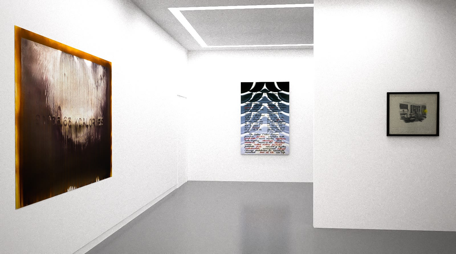 Michael Joo, Roger brown, and Allen Ruppersburg in The Written Word (virtual exhibition view), 2020, Kavi Gupta