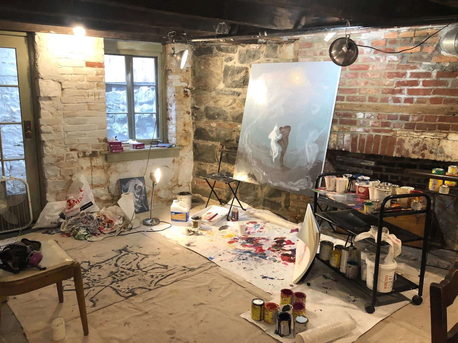 Inka Essenhigh's current workspace in the basement of her New York apartment