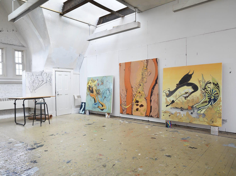 Inka Essenhigh's studio in New York's Lower East Side