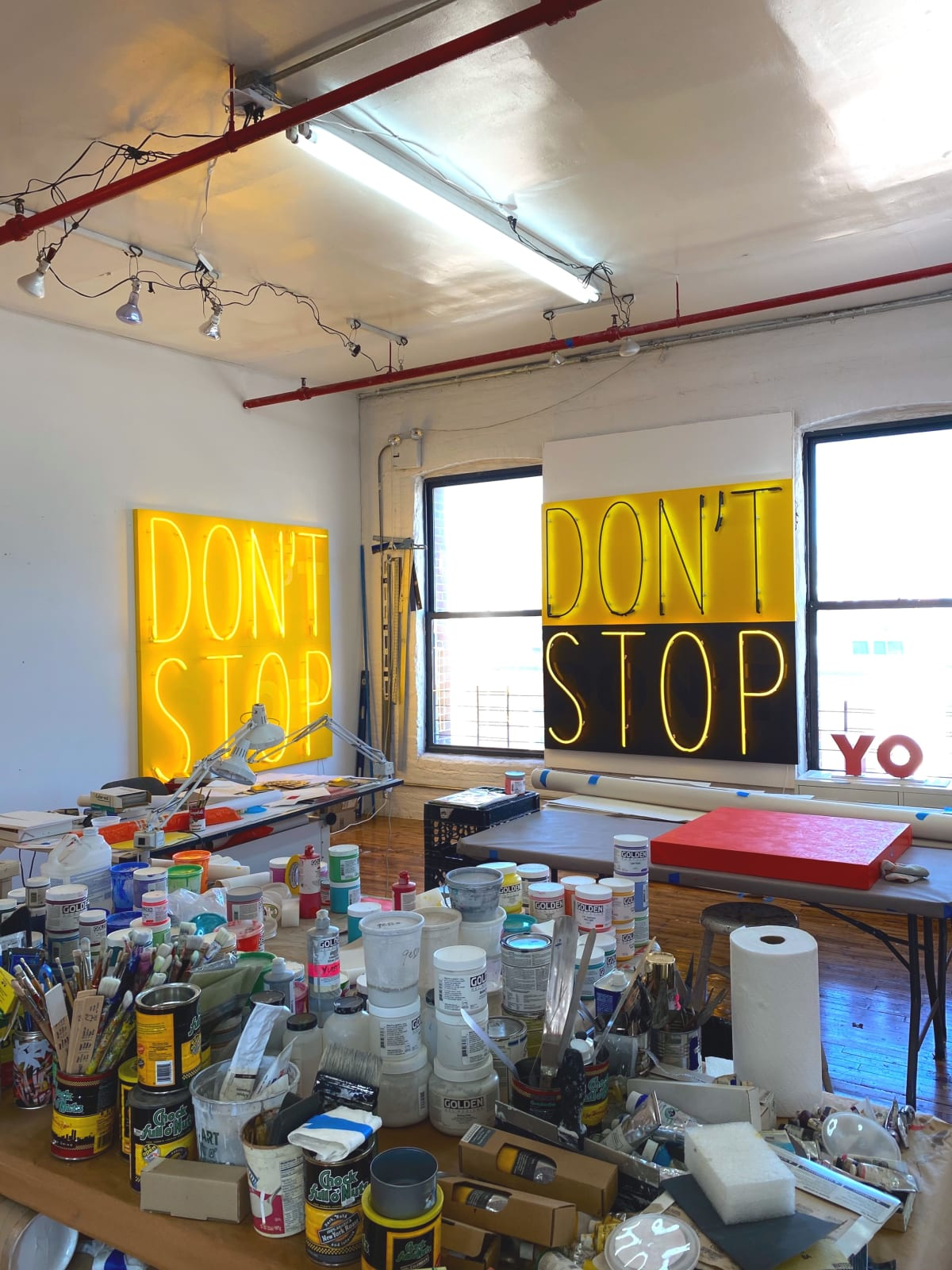 Deborah Kass' studio in Brooklyn, NY. 2020 (pictured: DON'T STOP 3, 2020 and DON'T STOP 1, 2020)