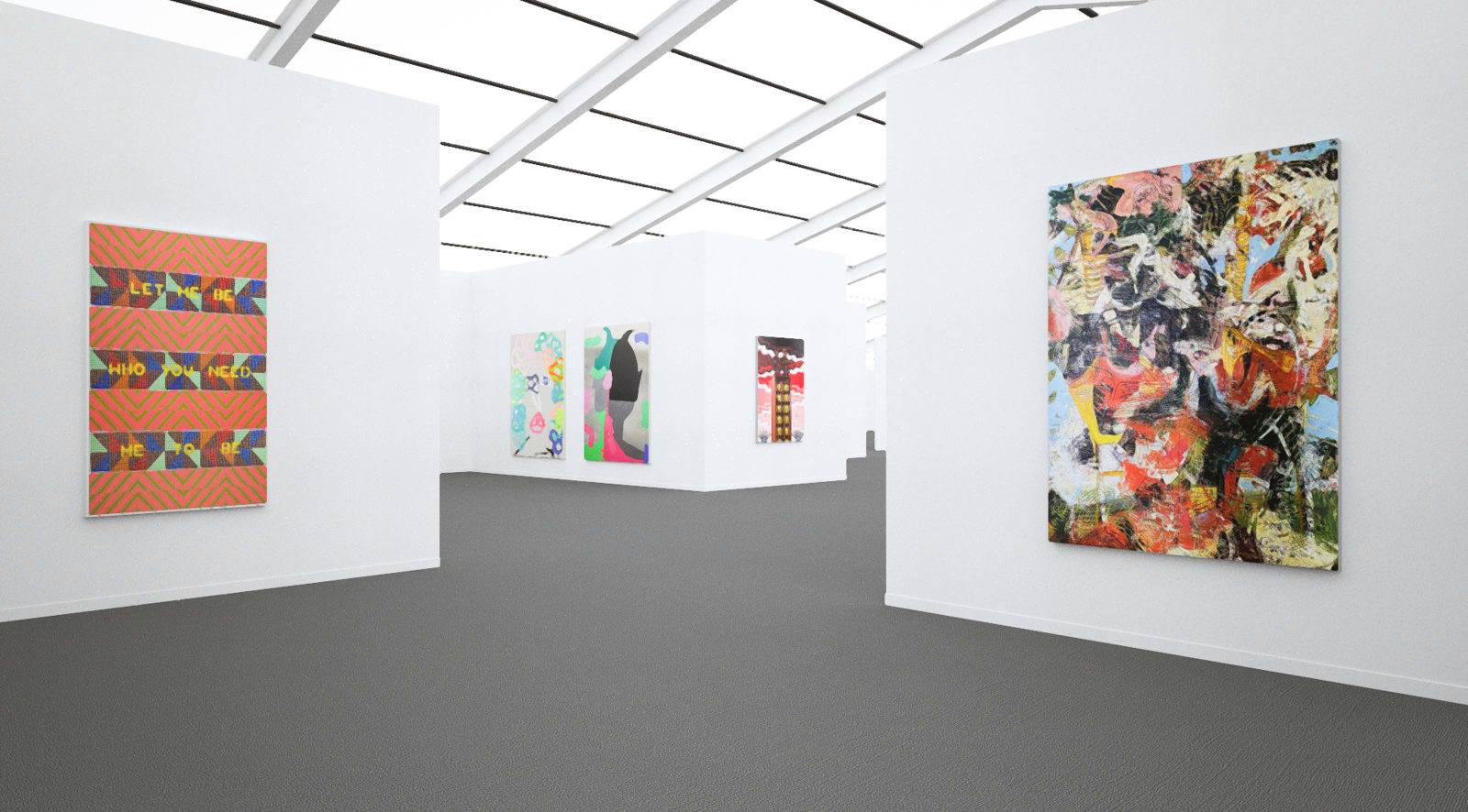 Works by Jeffrey Gibson, Jose Lerma, and Angel Otero at Frieze New York (Installation View), 2020, Kavi Gupta
