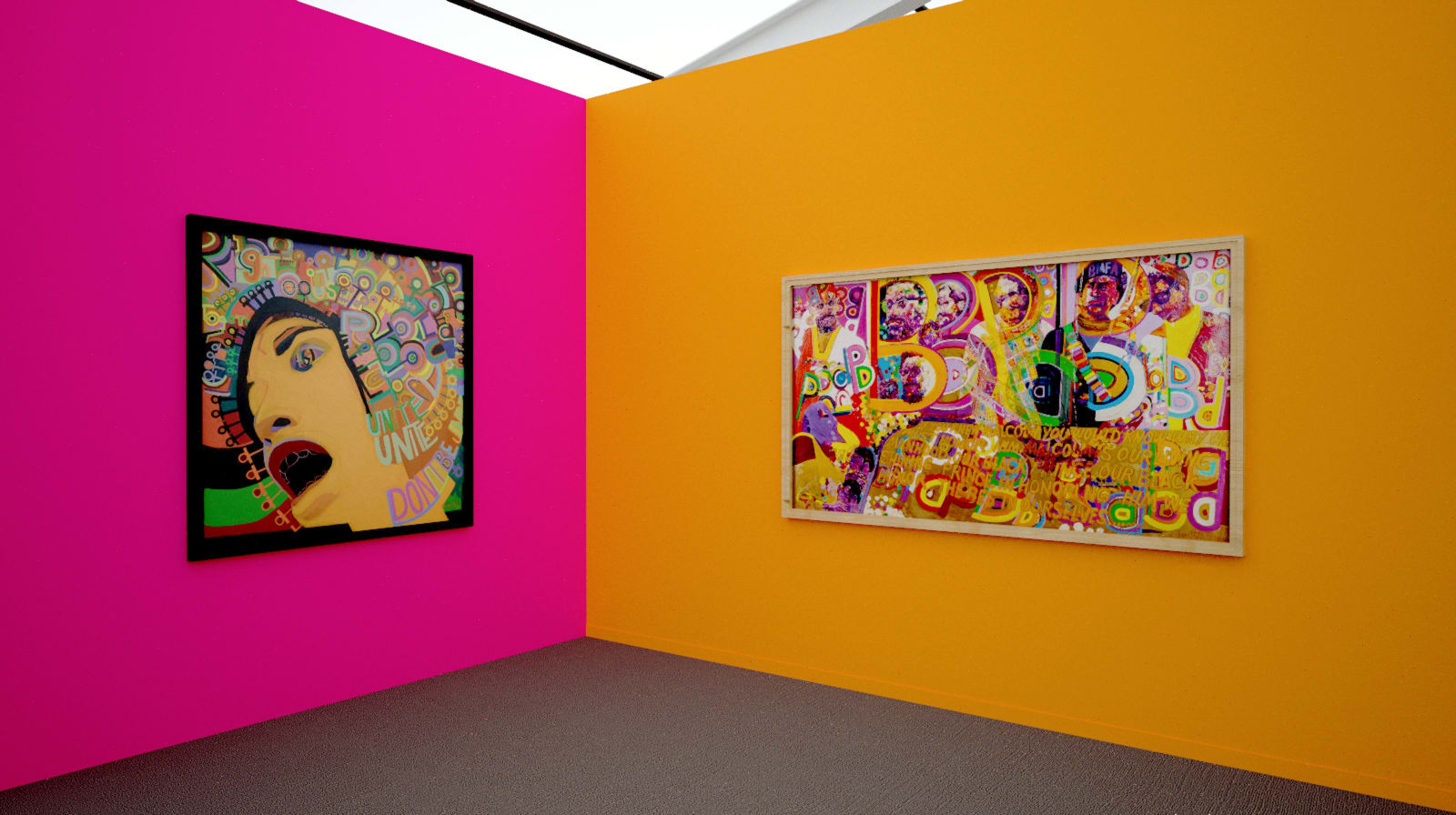 Works by AFRICOBRA members Gerald Williams and Wadsworth Jarrell at Frieze New York (Installation View), 2020, Kavi Gupta
